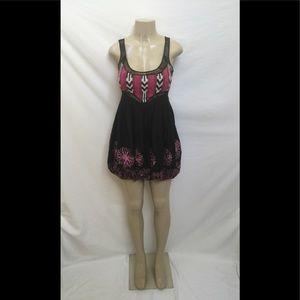 BEBE Sz XS Black Mini Dress With Flower Embroidery